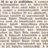 754. Balikó Mihály 25 éves tanítói jubileuma