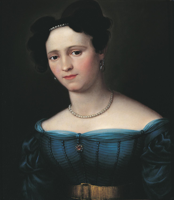 BARABÁS Miklós (1810-1898): Kékruhás hölgy gyöngysorral (1837) olaj, vászon, 48 x 39,5 cm jelezve hátul: Barabás, Kovács Gábor Gyűjtemény