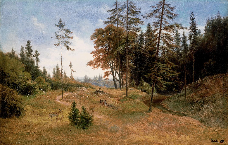 KELETI Gusztáv (1834-1902): Erdei tisztás őzekkel (1890) olaj, vászon, 34,5 x 54 cm jelezve jobbra lent: Keleti, Kovács Gábor Gyűjtemény