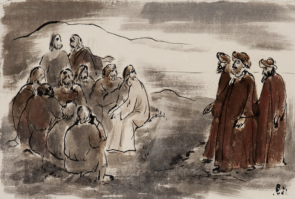 A tanító (Bibliai jelenet) 1982, tus, diópác, papír, 325x485 mm