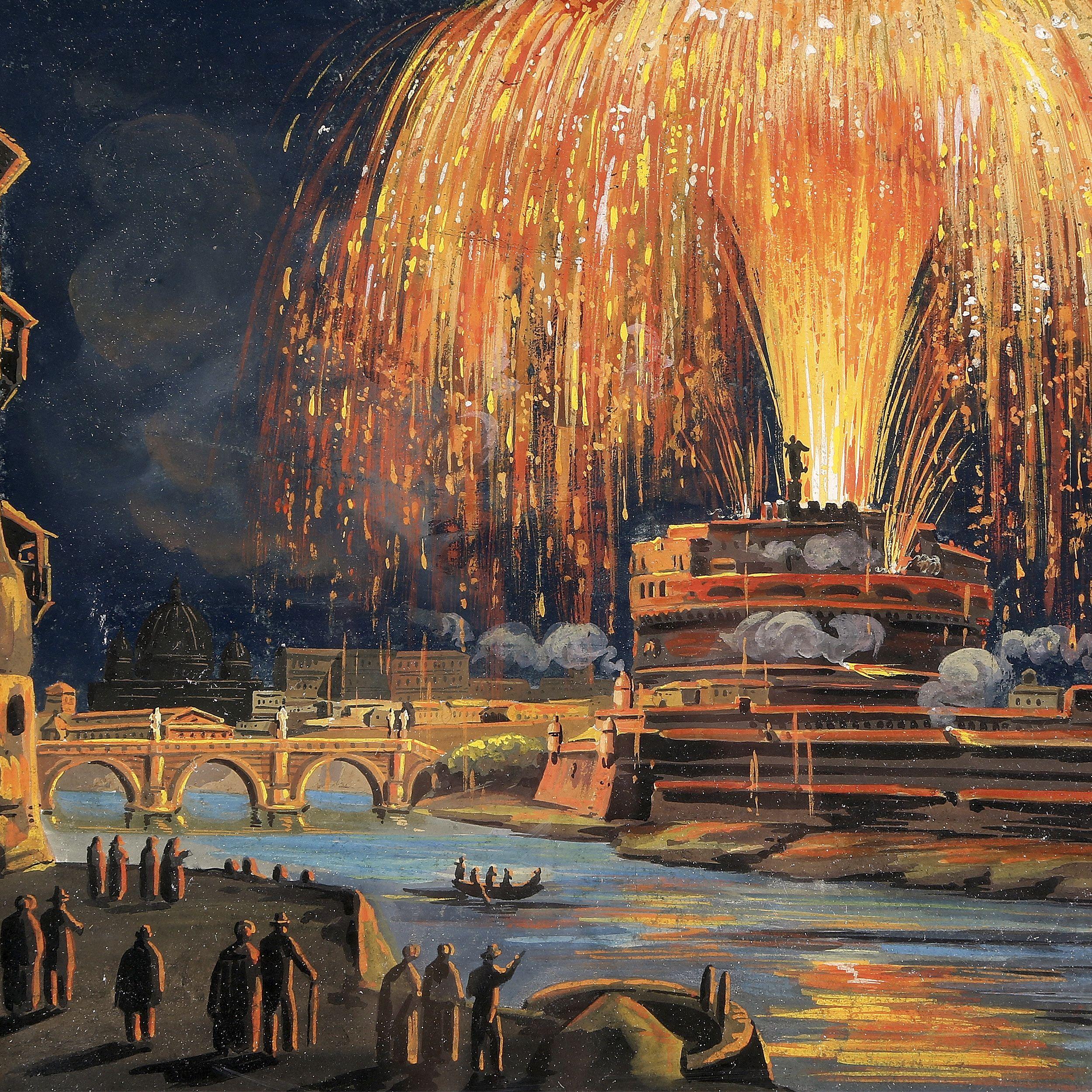 Ismeretlen 19.sz.-i olasz festő tüzijáték ábrázolása