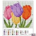 Keresztszem: színes tulipánok