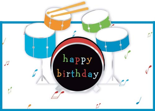Happy Birthday Drums Cake
