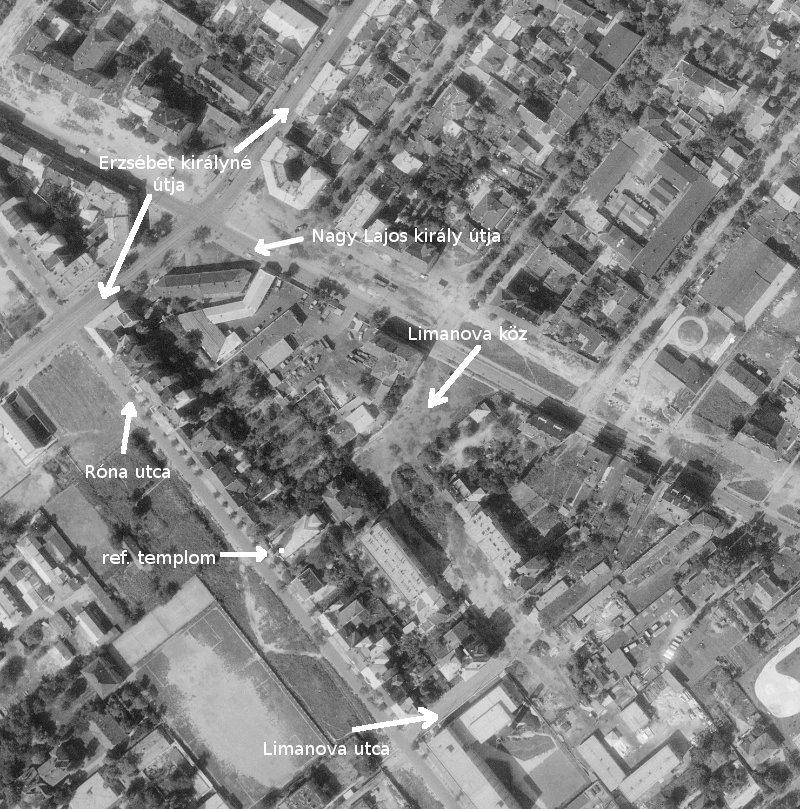 1963-as légifotó a Limanova térről