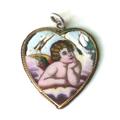 Személyes relikvia - putto angyalos zománc medál arany keretben 1930-as évekből