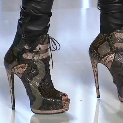 Tűsarkú állatbőr mintás platform bokacsizma - fűzős csatos 2012 őszi 2012-2013 téli divat