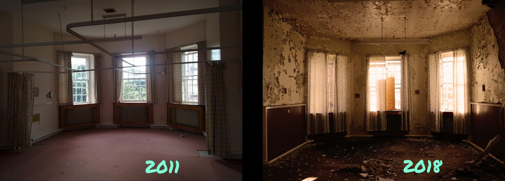 Bár a két kép között nem telt el sok idő - 7 év - a különbség elég látványos. A baloldali kép még a kórház bezárásának idején készült.