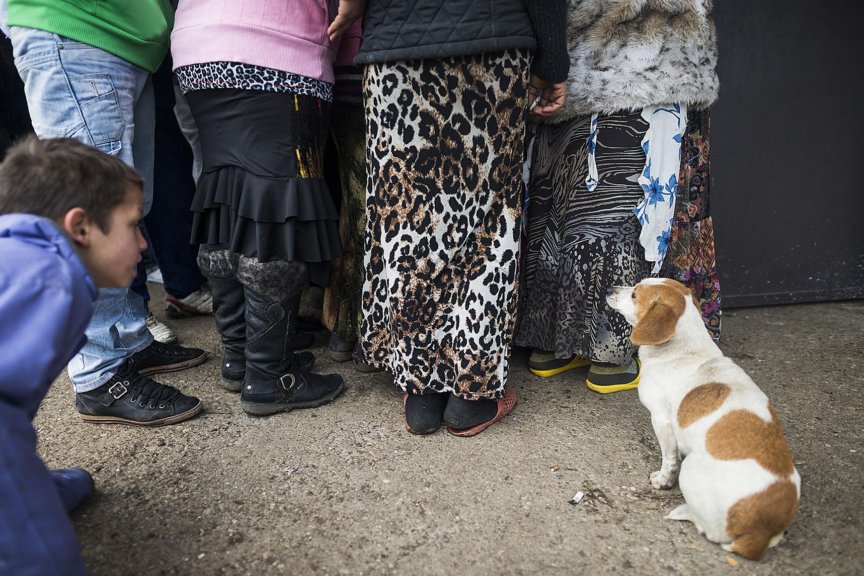 Fotó: Balázs Attila: Asszonyok várakoznak az aktív segély kifizetésére Tiszavasváriban, a közel háromezer lakosú Széles úti cigánytelepen, a közösségi ház előtt, 2012<br />