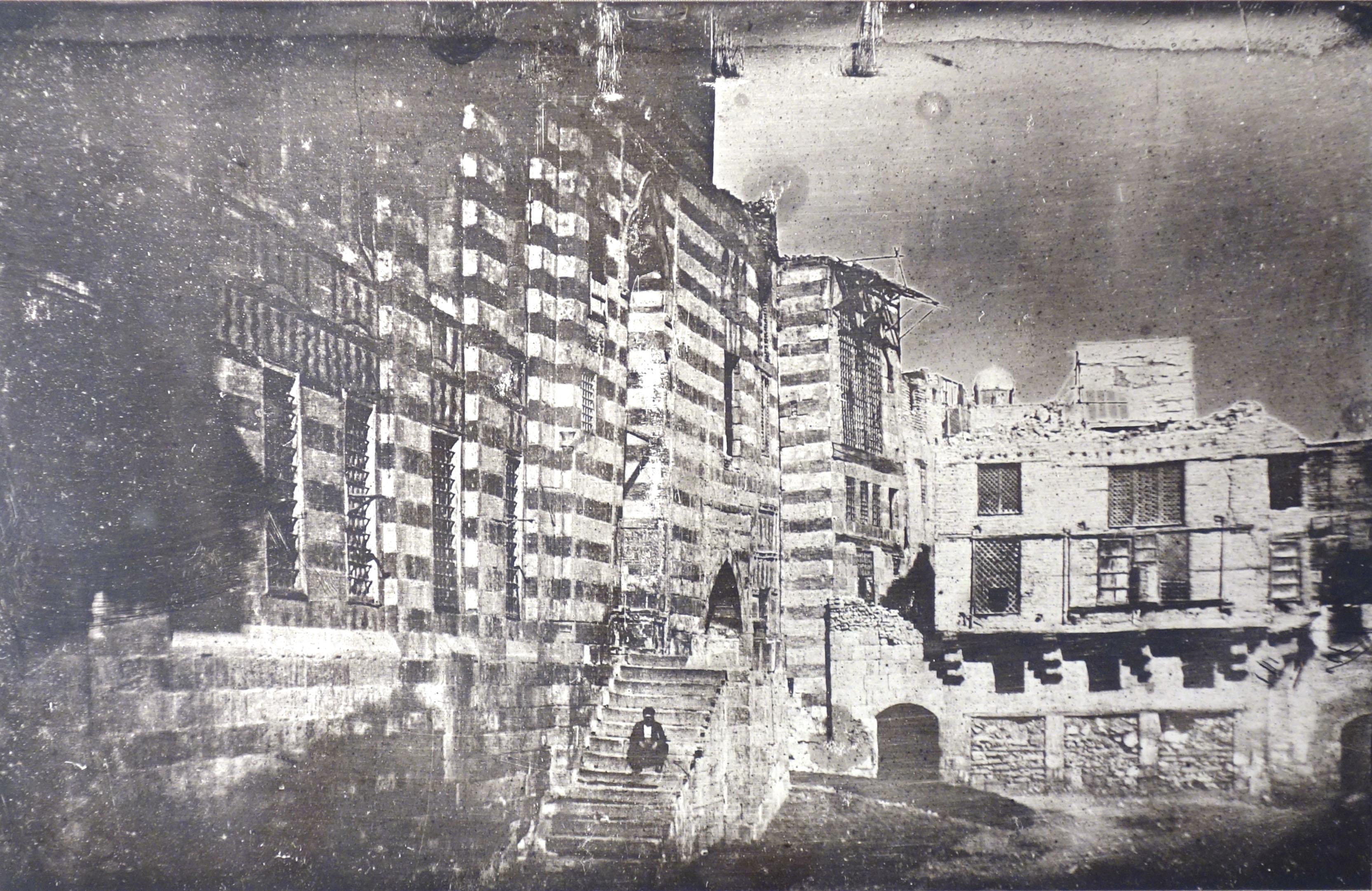 Fotó: Ismeretlen: Régi tér Kairóban, 1843 körül, 12 x 19 cm, dagerrotípia