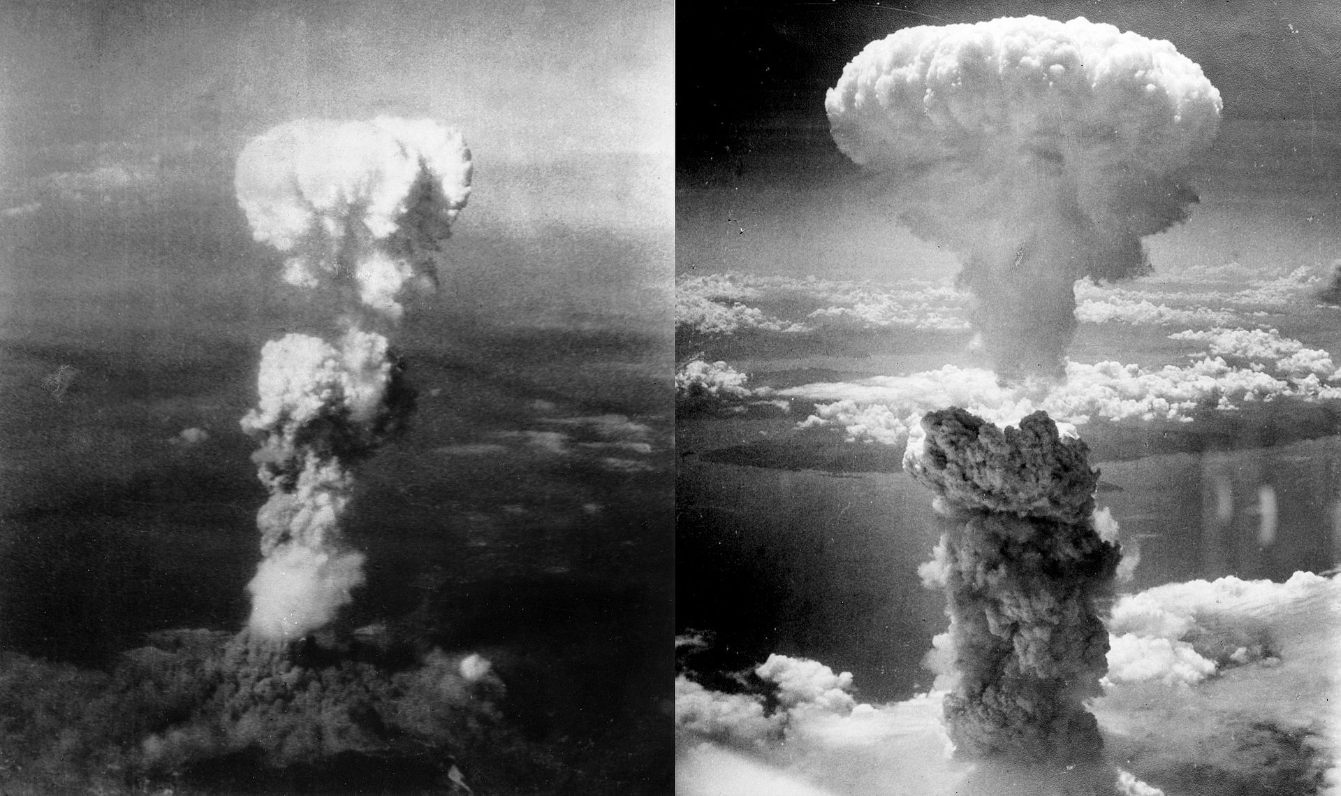 Fotó: Gombafelhő Hirosima (balra) és Nagaszaki (jobbra) felett, 1945. augusztus 6/9. <br /><br />A légi felvételeket George R. Caron, a bombát Hirosimába szállító Enola Gay nevű repülőgép faroklövésze készítette. A következő hetekben számos helyen megjelentek, például a Life 1945. augusztus 20-i számában. Noha sokan ekkor látták először a 6000 méterrel a város fölött lebegő magas, boltozatos tetejű felhőt, a hirosimai képek alig emlékeztettek az atomkorszak jelképévé vált gomba alakú felhőre.