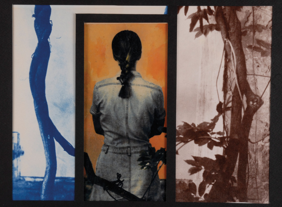 Fotó: Vékás Magdolna: Részletek – lány, cianotípia-albumin-kromotípia, 1998, 21×28 cm © Vékás Magdolna