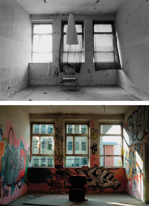 Fotó: Vékás Magdolna: Tűzraktér – fotel, digitális print, 2008, 50×70 cm © Vékás Magdolna