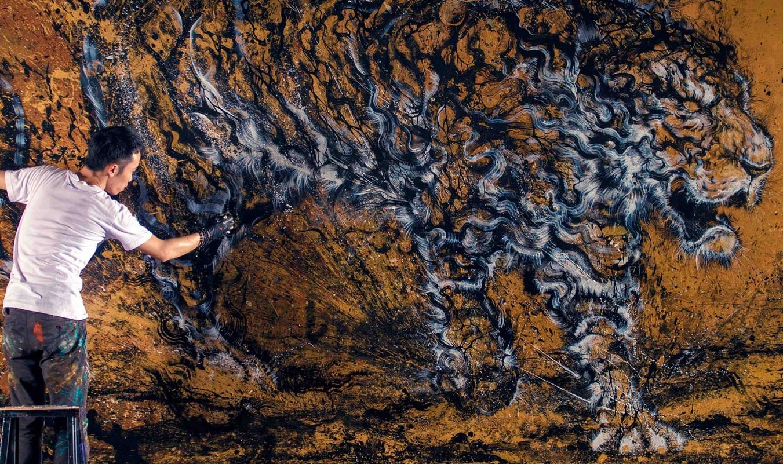 Vászonra fröcskölt lenyűgöző tigris