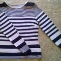 Kék-fehér széles csíkos póló