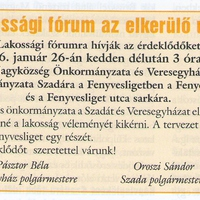 FONTOS LAKOSSÁGI FÓRUM AZ ELKERÜLŐ ÚTRÓL