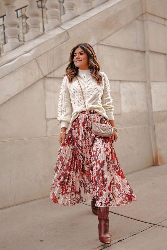 A lenge, virágos szoknyák csodásan mutatnak a kötött felsőkkel!