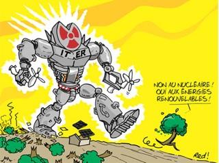 """[Sugárzó robot, rajta franciául a következő szöveg: """"Nem a nukleáris energiára! Igen a megújuló energiaforrásokra!"""" Forrás: Stop Iter]"""