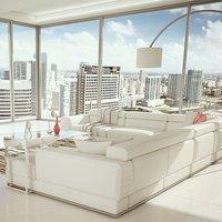 Hangulatos nappalik fehér téglákkal