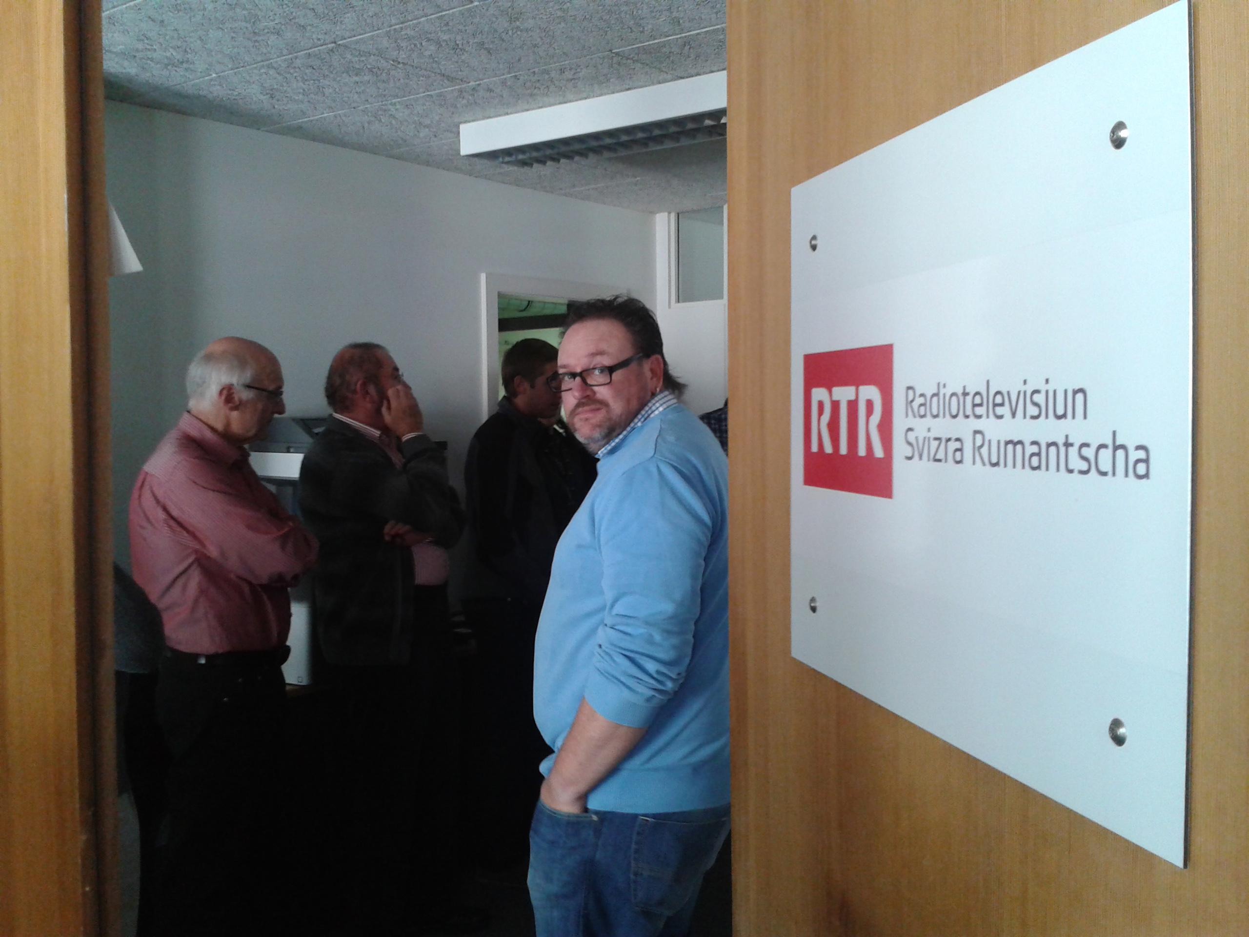 Az RTR rádió-és tévéstúdiójában, Scuolban.