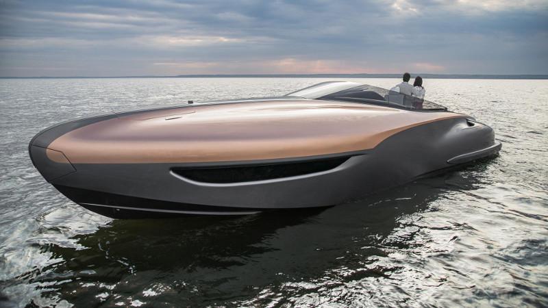 lexus motorcsónak naplementében - exkluzív - gazdag - prémium - luxus - presztízs