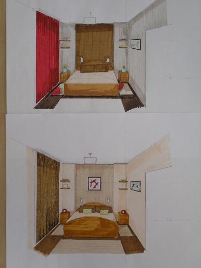 Hálószoba terv - első fázis - Minden Design