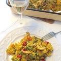 Csirkés nyulas paella tenger gyümölcseivel Andalúz módra