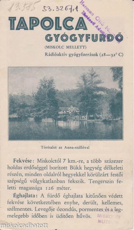 Ismertetők Miskolctapolcáról 1925-ből
