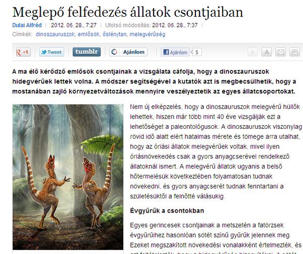 Dulai Alfréd: Meglepő felfedezés állatok csontjaiban (Origo)