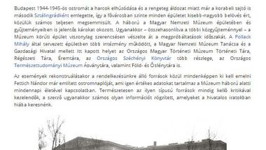 Újkor.hu: A Magyar Nemzeti Múzeum főépülete Budapest ostromának poklában
