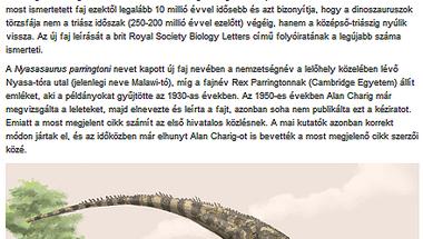 Dulai Alfréd: Váratlan helyen találták meg a legkorábbi dinoszauruszt (Origo)