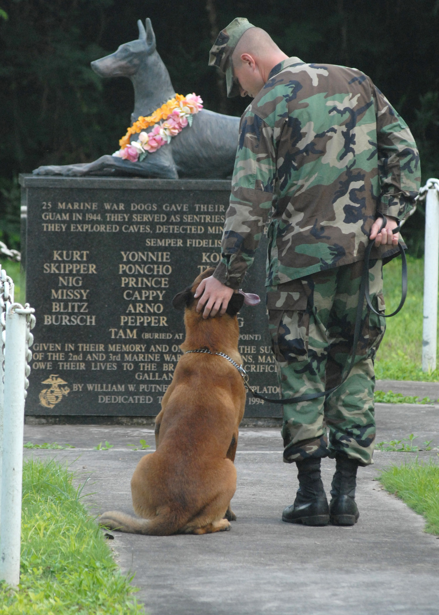us_navy_061027-n-9662l-048_petty_officer_2nd_class_blake_soller_a_military_working_dog_mwd_handler_pets_the_head_of_his_mwd_rico_at_the_war_dog_cemetery_located_on_naval_base_guam.jpg