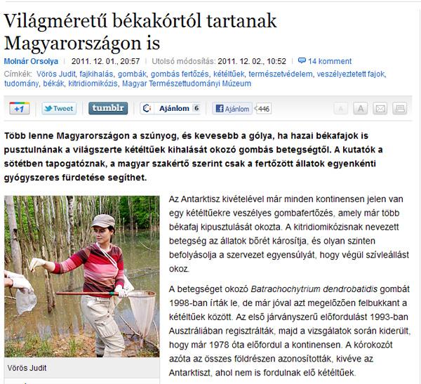 Molnár Orsolya: Világméretű békakórtól tartanak Magyarországon is