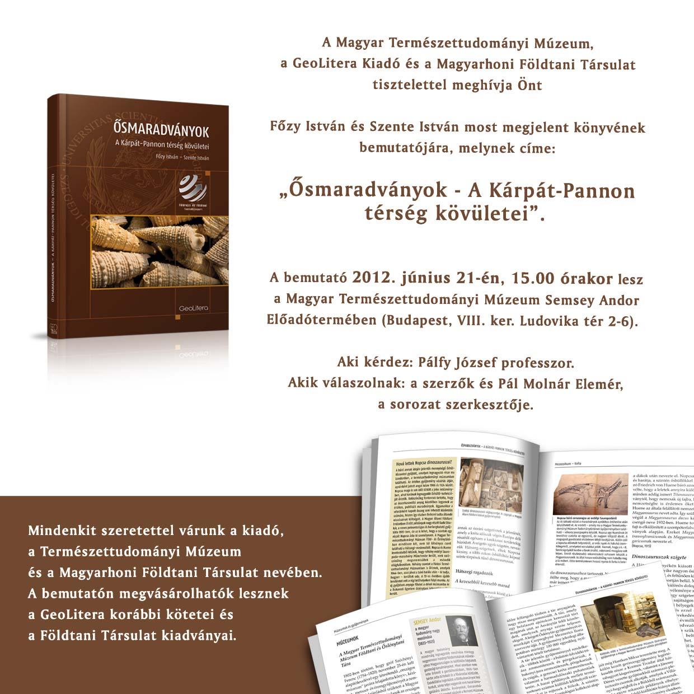 """Könyvbemutató a múzeumban: """"Ősmaradványok - A Kárpát-Pannon térség kövületei"""""""