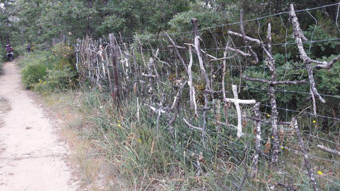 El camino, gallyakból készült keresztek a kerítésen