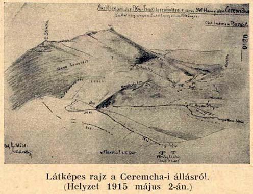 Korabeli rajz a Ceremchán kialakított állásról 1915. május 2-án