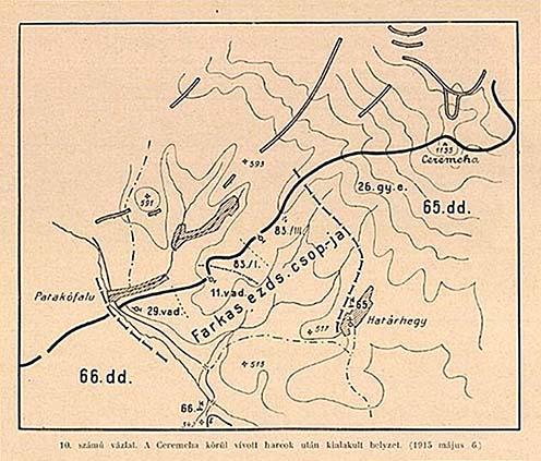 A Ceremcha körül vívott harcok után kialakult, 1915. május 6-ai helyzetről készült vázlat