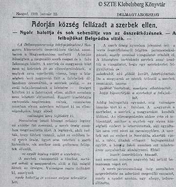A Szegeden megjelenő Délmagyarország 1919. január 22-ei tudósítása az adorjáni eseményekről