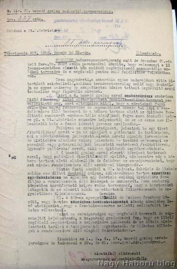 A Hadtörténelmi Levéltárban fellelhető irat másolata