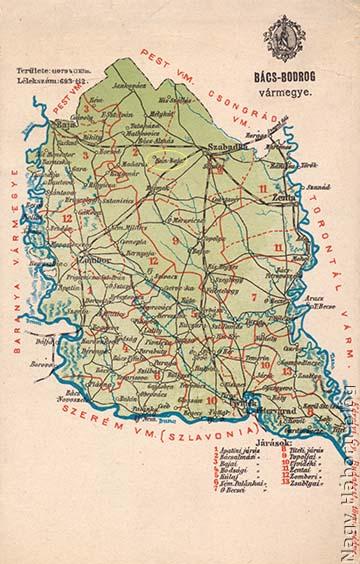 Kunbaja Bács-Bodrog vármegye térképén