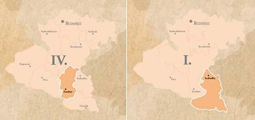 A császári és királyi zombori 23. gyalogezred, illetve a magyar királyi szabadkai 6. honvéd gyalogezred hadkiegészítő területe
