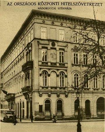 A Nádor utca 22. szám alatti épületben 1917-től az Országos Központi Hitelszövetkezet működött (forrás: hungaricana.hu)