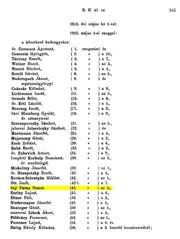 Rendeleti Közlöny 1915. Személyi ügyek 515.