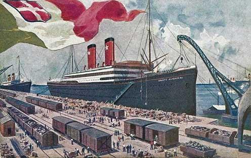 Az 1914-ben épült, 9754 bruttó regisztertonnás, 153,5 m hosszú és 18,1 m szélességű SS Dante Alighieri olasz hajó korabeli ábrázolása. A hajón szállított 1995 hadifogoly közül senki sem halt meg