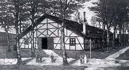 Az internáltak barakkja Tápiósülyben. Ceruza- vagy szénrajz. Alkotójának neve, valamint készítésének helye és ideje ismeretlen