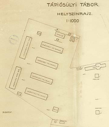 A tápiósülyi tábor helyszínrajza az 1940-es évekből