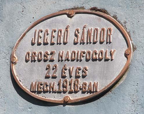 A sírfeliraton Jegeró Sándor szerepel