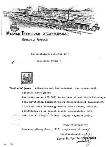 A Magyar Textilipar Rt. levele 1916-ból