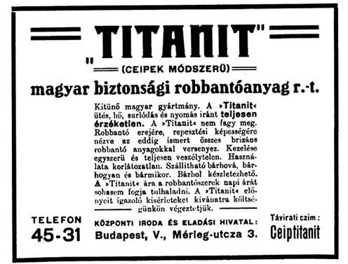 A Titanit hirdetése