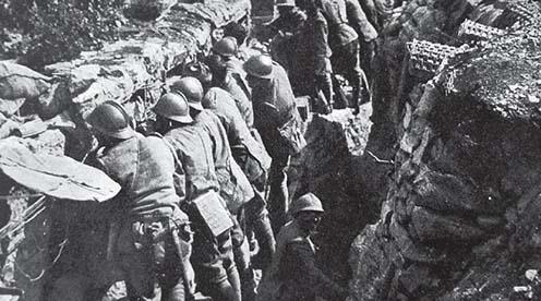Olasz gyalogság a lövészárkokban
