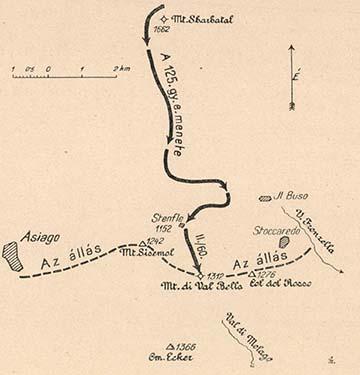 A 125. gyalogezred útja a Monte di Val Bellára
